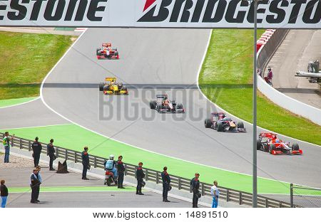 """Racing cars on a circuit during The Formula 1 Grand Prix at autodrome """"Catalunya Montmello"""""""