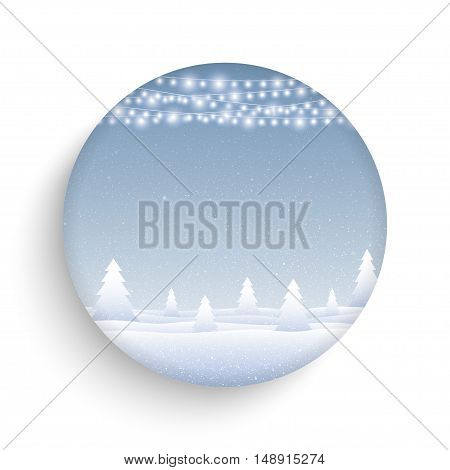 Vector white snow falling on blue background. Garlands on a background of falling snow. Vector round glass frame.
