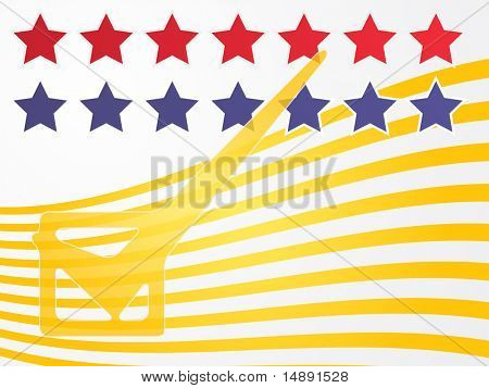 Checkmark over stars and stripes, illustrationg United States elections