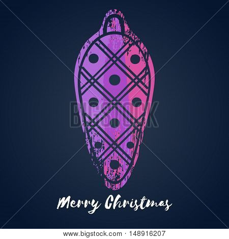 Colorful christmas tree ball decoration icon. Hand drawn paint brush vector illustration. Good for christmas new year design