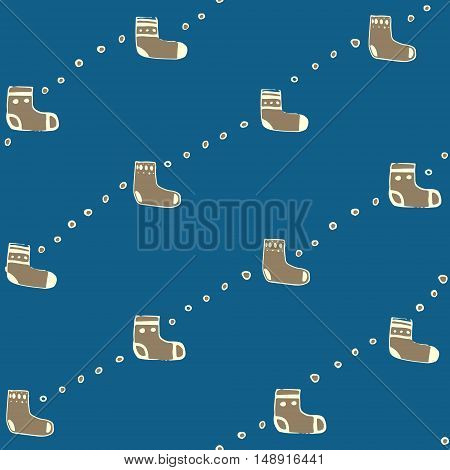 Seamless pattern with christmas socks. Vector illustration for Merry Christmas and Happy New Year print design.