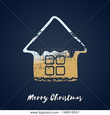 Colorful christmas ginger house cookie icon. Hand drawn paint brush vector illustration. Good for christmas new year design