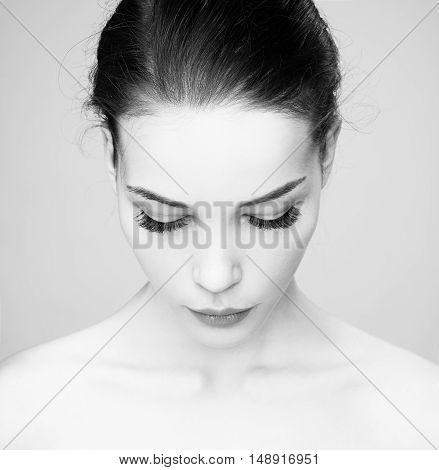 Beautiful Woman Face. Mascara Applying.eyes Make-up. Beautiful Spa Model Girl With Perfect Fresh  Sk