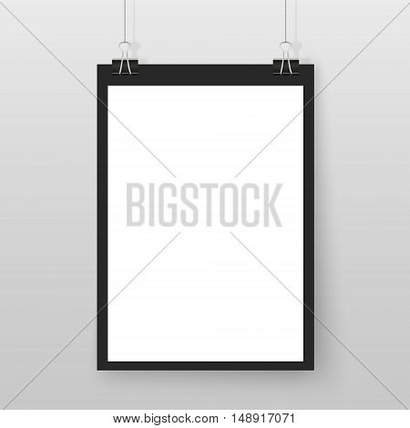 Poster on binder clips. Horizontal paper mockup. Modern empty template for your design. Vector mock up for picture painting drawing quotes poster or photo.