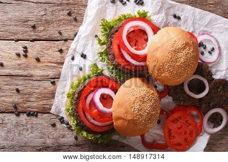 Bean Veggie Burgers With Vegetables Close-up. Horizontal Top View