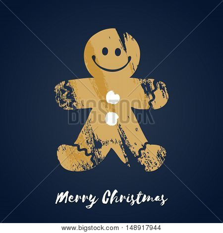 Colorful christmas gingerbread man cookie icon. Hand drawn paint brush vector illustration. Good for christmas new year design