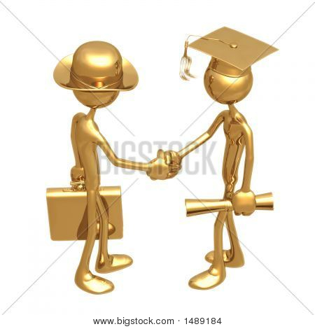 Golden Grad Employment Graduation Concept