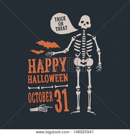 Cartoon skeleton. Happy Halloween design elements for decorating flyers, posters, greeting cards and banners.