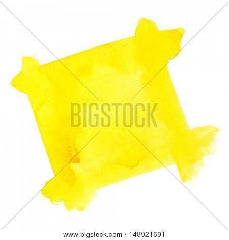 Yellow watercolor frame of brush strokes isolated on the white background - space for your own text