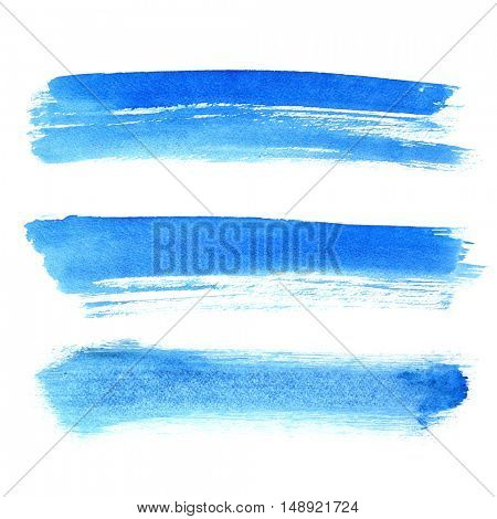 Blue brush strokes isolated over the white background