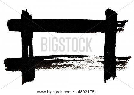 Black frame of brush strokes isolated on the white background