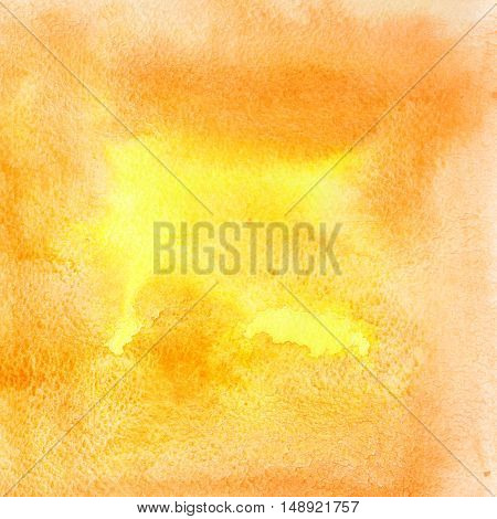 Orange abstract watercolor background with texture of paper