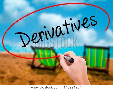 Man Hand Writing Derivatives With Black Marker On Visual Screen