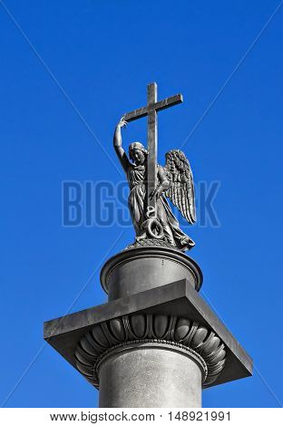 Angel on The pillar at the Palace Square in St. Petersburg