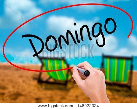 Man Hand Writing Domingo  (sunday In Spanish/portuguese) With Black Marker On Visual Screen