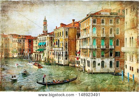 Beautiful romantic canals of Venice- artwork in painting style