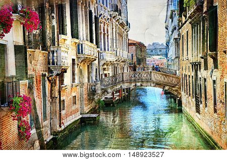 Romantic Venetian canals - artwork in painting style