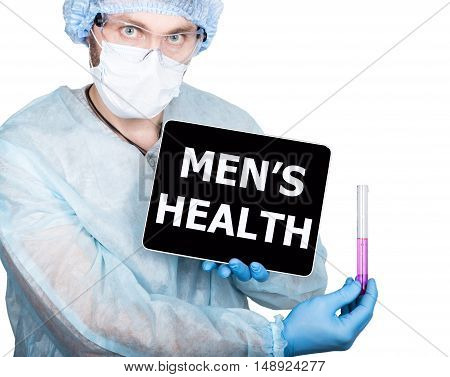 Doctor holding a tablet pc with men's health sign on the display. isolated on white