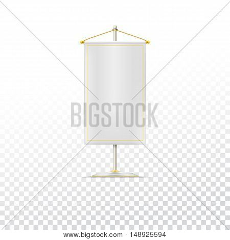 White pennant or flag on chrome base with gold cord on trasparent background