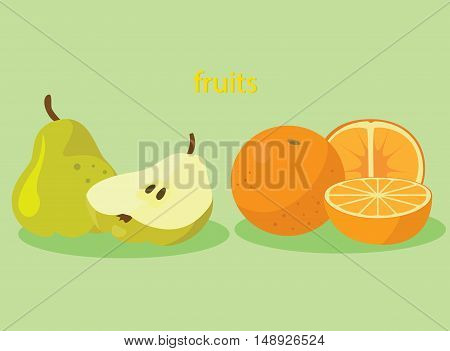 Orange and Pear - healthy fruit. For your convenience each significant element is in a separate layer. Eps 10