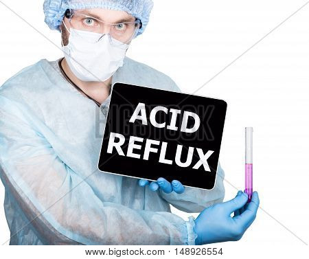 professional medical doctor showing tablet pc and acid reflux sign a display, isolated on white.