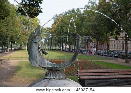 Fischtorbrunnen (german word for fishgatefountain) on Fischtorplatz (german word for fishgateplace) in Mainz (Rhineland-Palatinate, Germany)