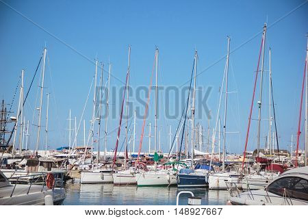 Yachts in the sea port city of Kemer Turkey Mediterranean Sea