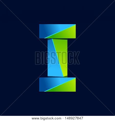 I letter line colorful logo. Abstract trendy green and blue vector design template elements for your application or corporate identity.