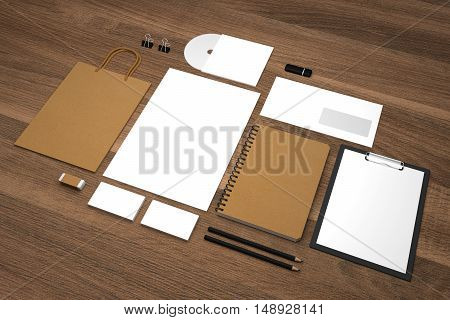 Mockup business template with shopping bag notepads and envelopes. Natural wooden background. 3d illustration.