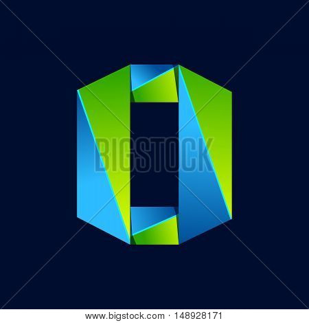O letter line colorful logo. Abstract trendy green and blue vector design template elements for your application or corporate identity.