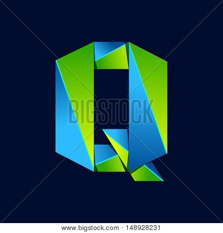 Q letter line colorful logo. Abstract trendy green and blue vector design template elements for your application or corporate identity.