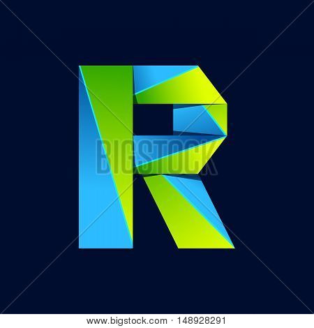 R letter line colorful logo. Abstract trendy green and blue vector design template elements for your application or corporate identity.