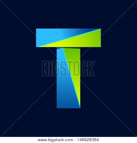 T letter line colorful logo. Abstract trendy green and blue vector design template elements for your application or corporate identity.