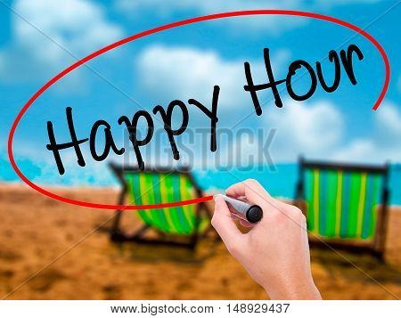 Man Hand Writing Happy Hour With Black Marker On Visual Screen