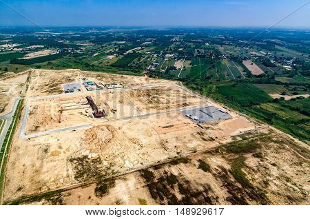 Farm land and industrial estate Aerial photo