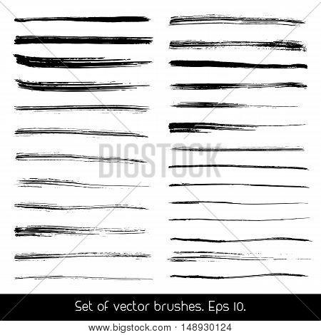 Set of vector brushes. Set of black brush strokes. Grunge design elements. Vector illustration.