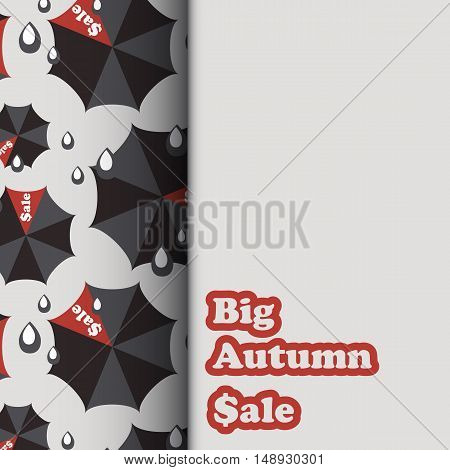 Sale template with black and red umbrellas and rain drops in flat style. Vector illustration
