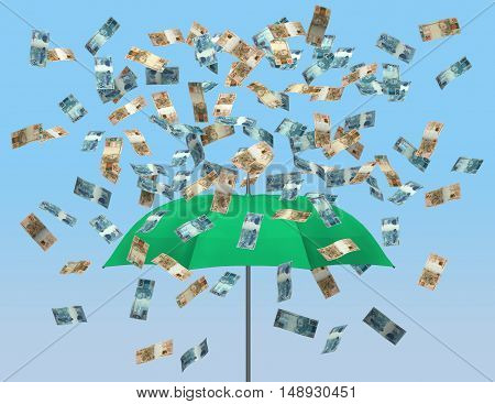 Umbrella and brazilian currency 3D money raining falling finance