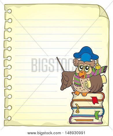 Notebook page with owl teacher 7 - eps10 vector illustration.
