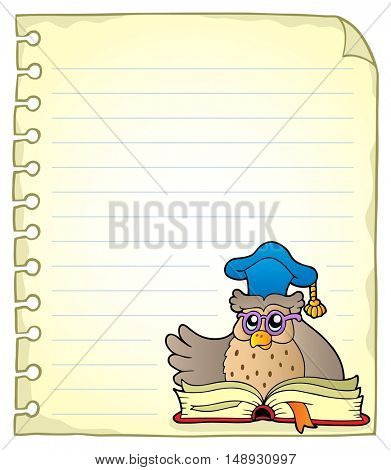 Notebook page with owl teacher 6 - eps10 vector illustration.