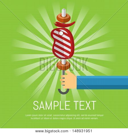 Vector illustration BBQ poster. Hand with skewers of grilled beef steak and vegetables on green striped background. Food flayer. Barbecue grill party invitation in flat style with space for text.