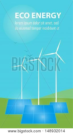 Eco energy vector illustration. Power plant using renewable solar energy with sun and wind turbine. Production of energy from the sun and wind. Ecological types of electricity. Eco generation