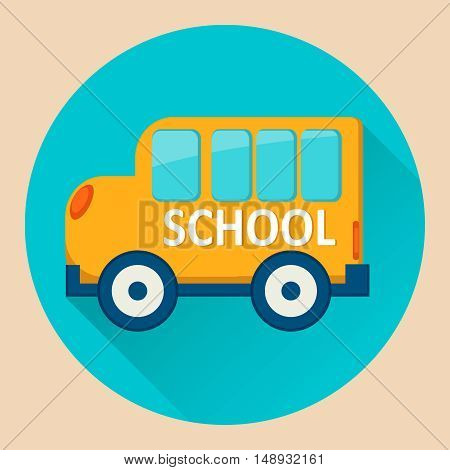 School Bus icon. Flat vector stock illustration
