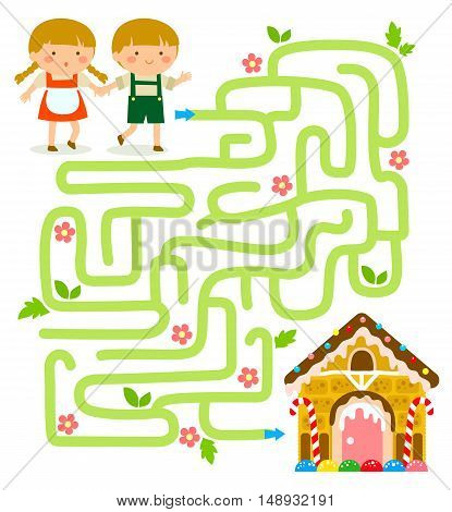 Maze game. Hansel and Gretel find the gingerbread house.