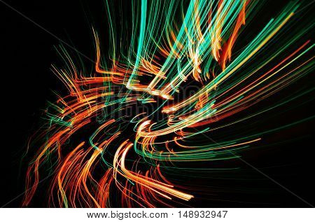 Colorful abstract lines at night