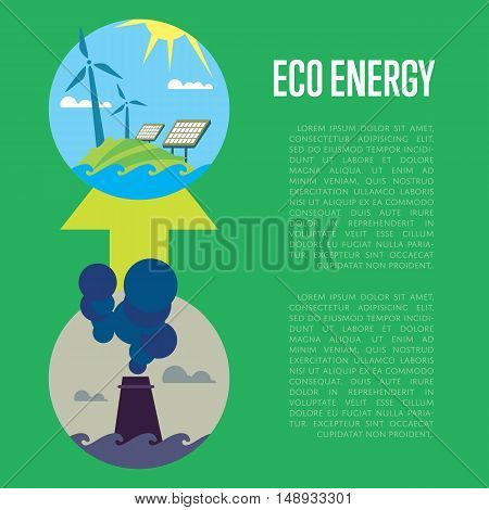 Vector illustration of evolution from industrial pollution to clean energy. Greening of the world banner. Development green energy. From heavy industry to save technology. Development green technology