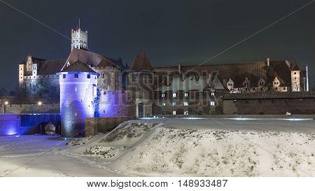 Teutonic Knights in Malbork castle at night.World Heritage List UNESCO.