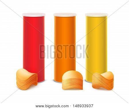Vector Set of Colored Red Orange Yellow Tin Box Container Tube for Package Design with Stack of Potato Crispy Chips Close up Isolated on White Background.