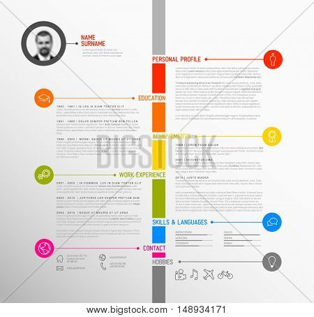 Vector minimalist cv / resume template - minimalistic colorful version, with timeline in the middle