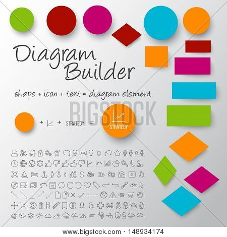 Vector schema diagram builder set - diy any diagram you need (light version with white background)